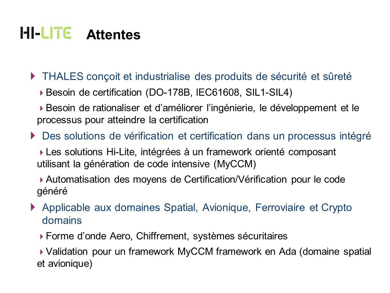 Attentes THALES conçoit et industrialise des produits de sécurité et sûreté. Besoin de certification (DO-178B, IEC61608, SIL1-SIL4)