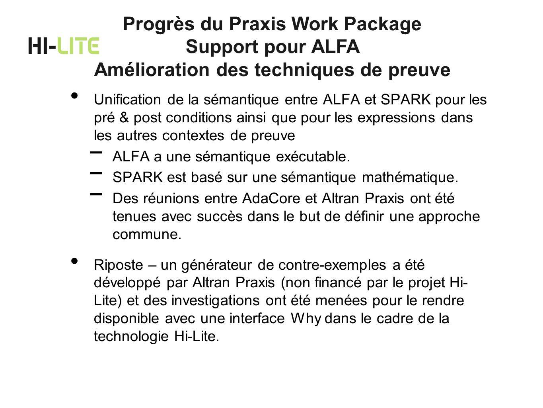 Progrès du Praxis Work Package Amélioration des techniques de preuve