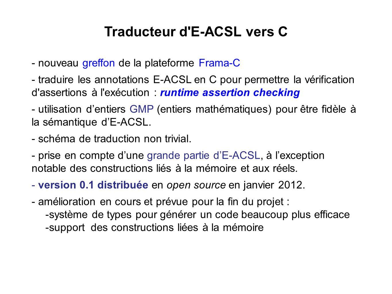 Traducteur d E-ACSL vers C