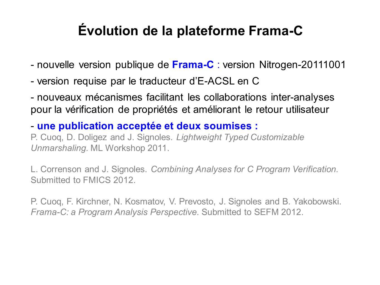 Évolution de la plateforme Frama-C