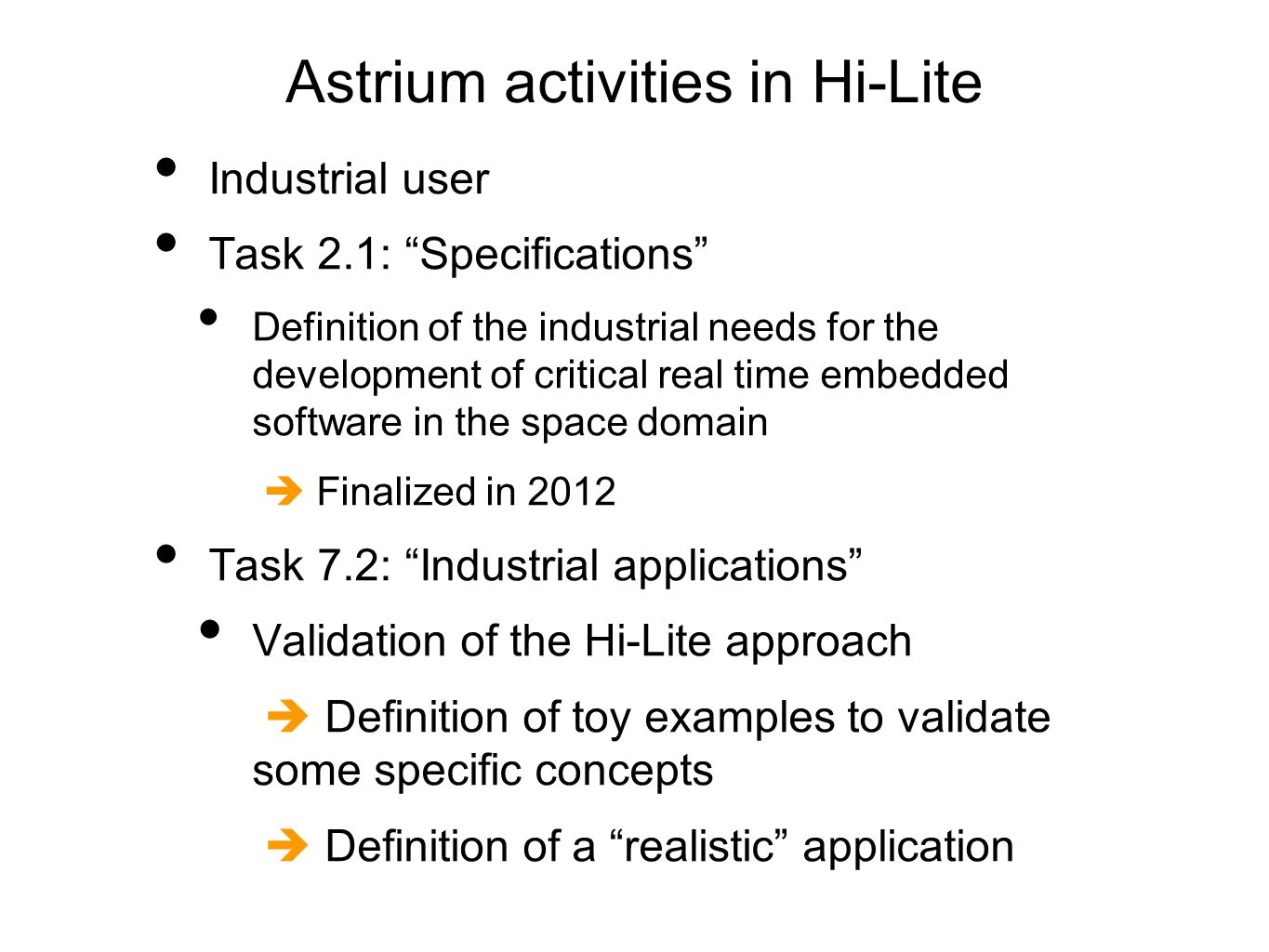 Astrium activities in Hi-Lite