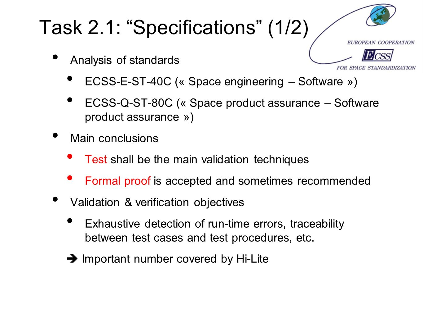 Task 2.1: Specifications (1/2)