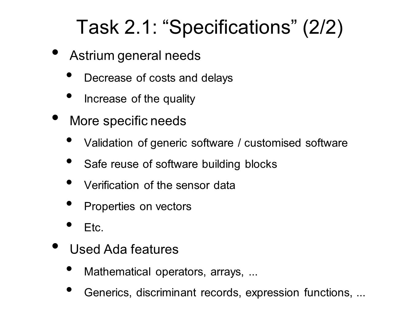 Task 2.1: Specifications (2/2)