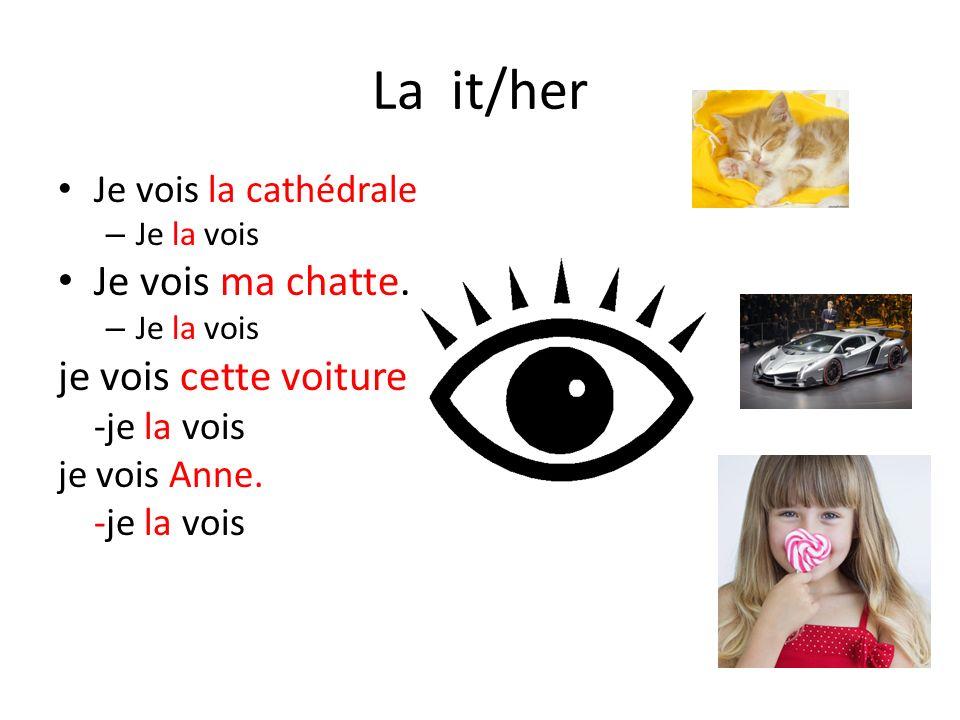 La it/her Je vois ma chatte. je vois cette voiture