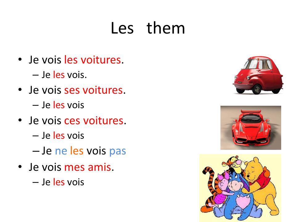 Les them Je vois les voitures. Je vois ses voitures.