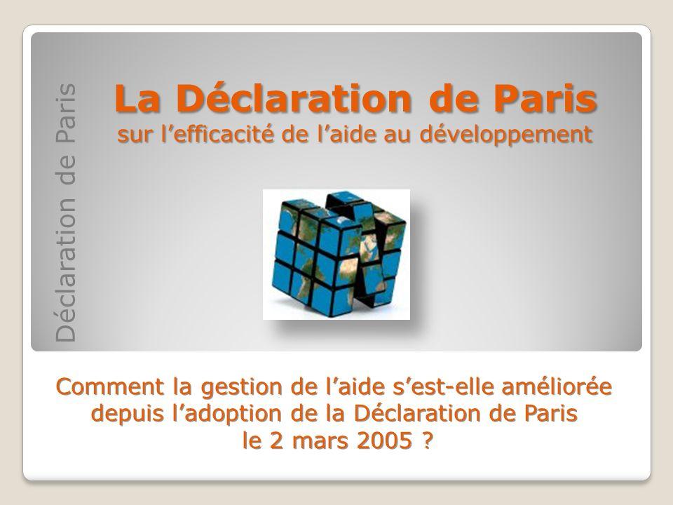 La Déclaration de Paris sur l'efficacité de l'aide au développement