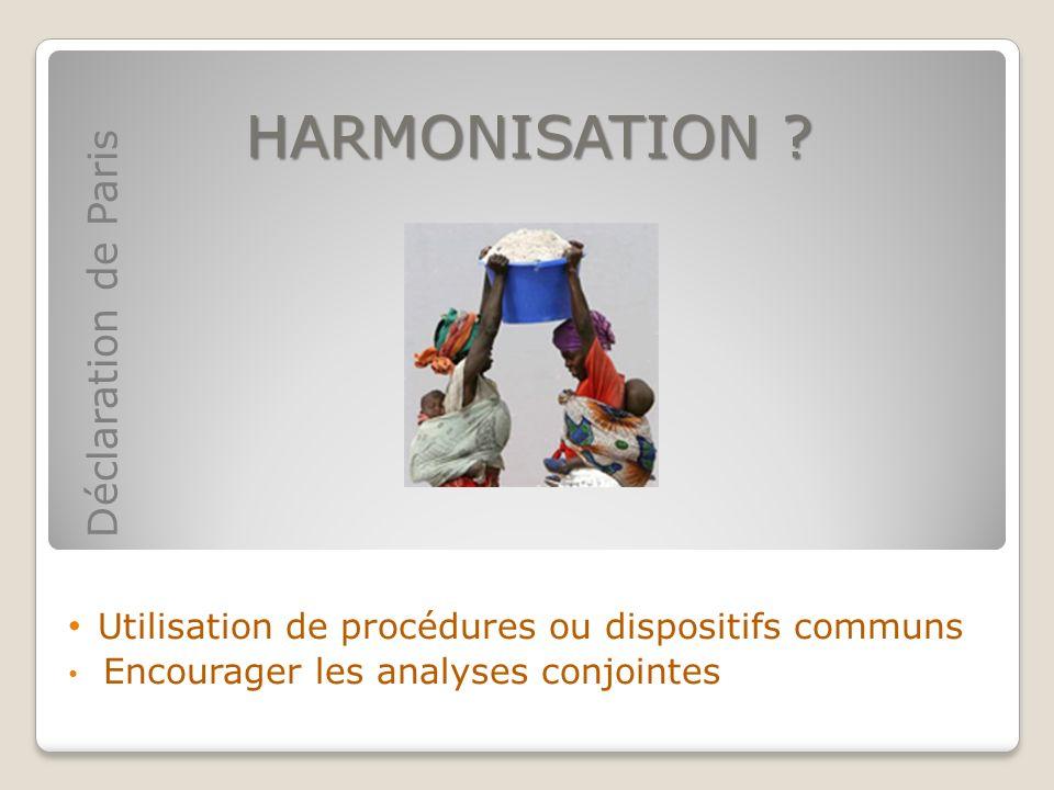 HARMONISATION Utilisation de procédures ou dispositifs communs