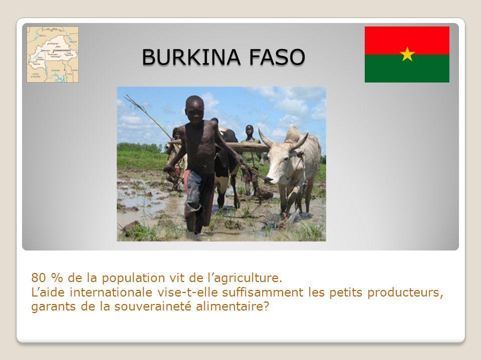 BURKINA FASO 80 % de la population vit de l'agriculture.