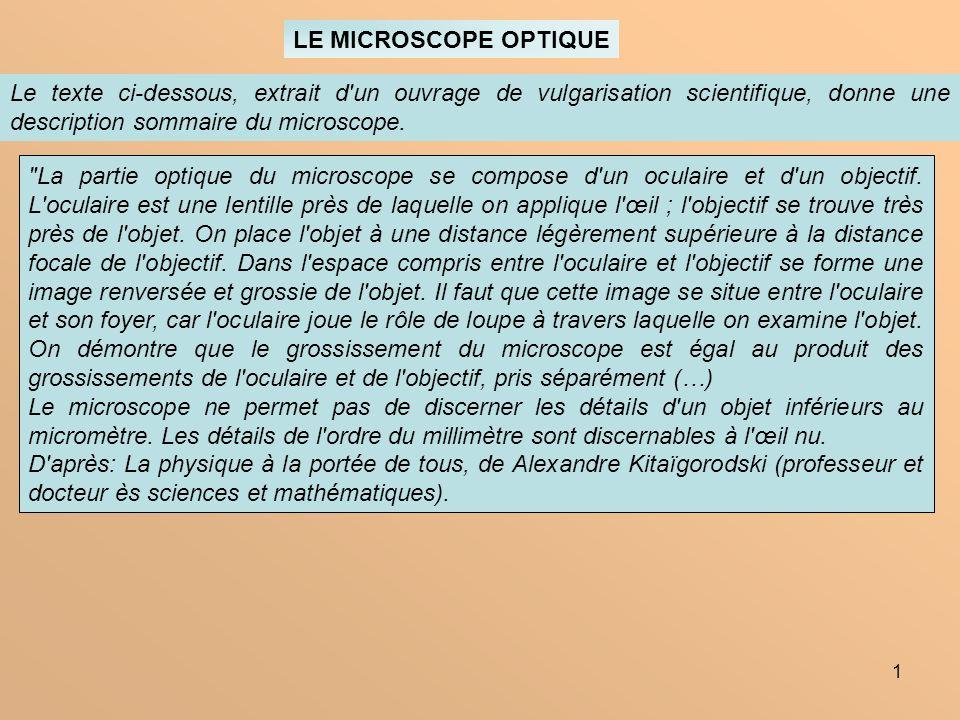 LE MICROSCOPE OPTIQUE Le texte ci-dessous, extrait d un ouvrage de vulgarisation scientifique, donne une description sommaire du microscope.
