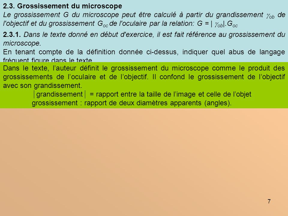 2.3. Grossissement du microscope
