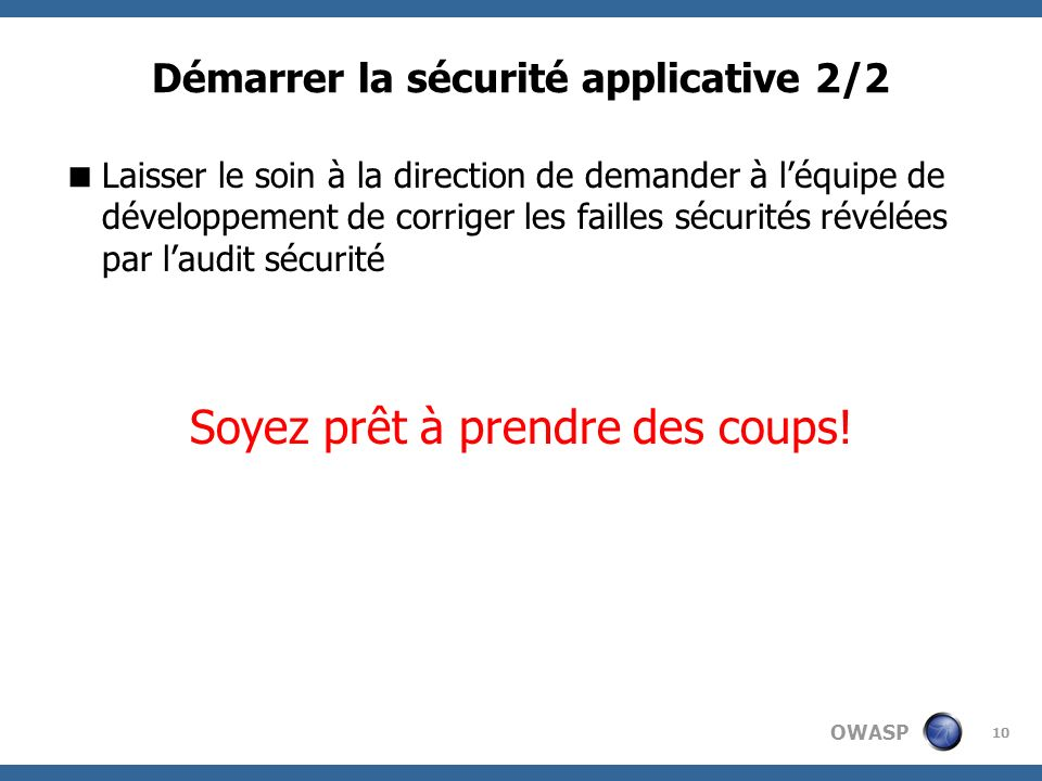 Démarrer la sécurité applicative 2/2