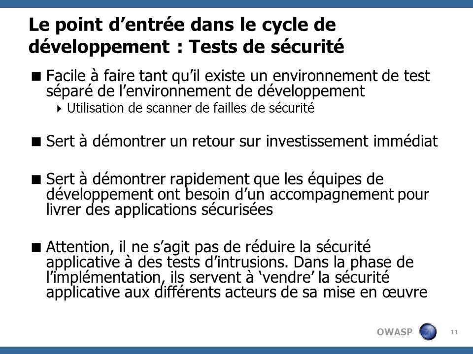 Le point d'entrée dans le cycle de développement : Tests de sécurité