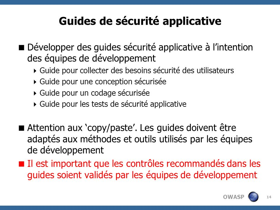 Guides de sécurité applicative