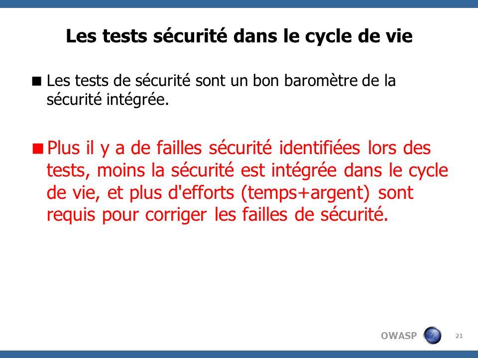 Les tests sécurité dans le cycle de vie