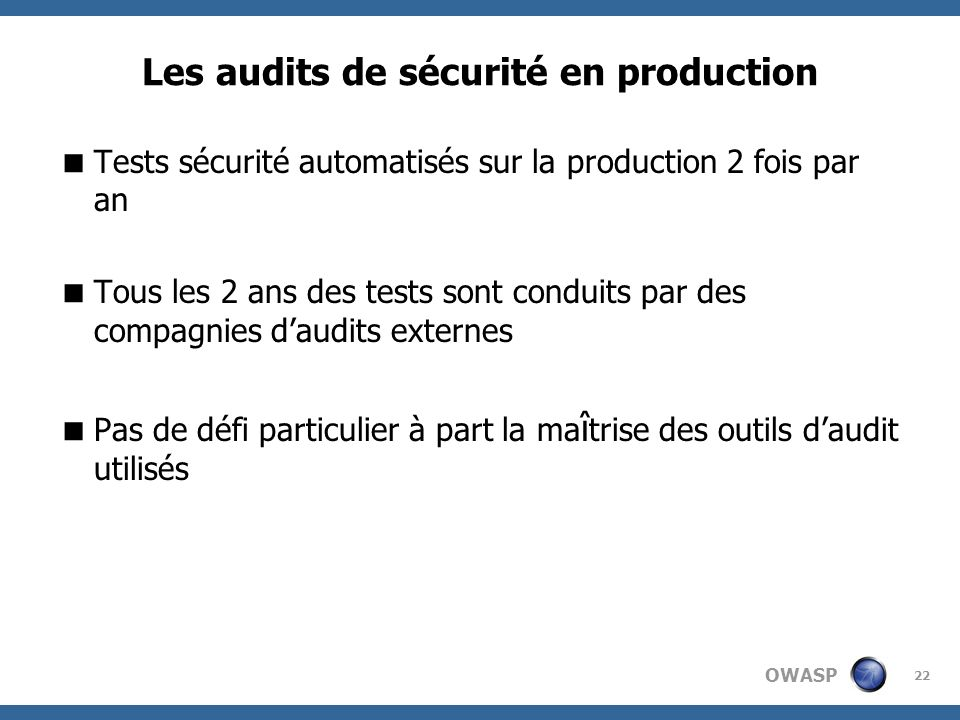 Les audits de sécurité en production