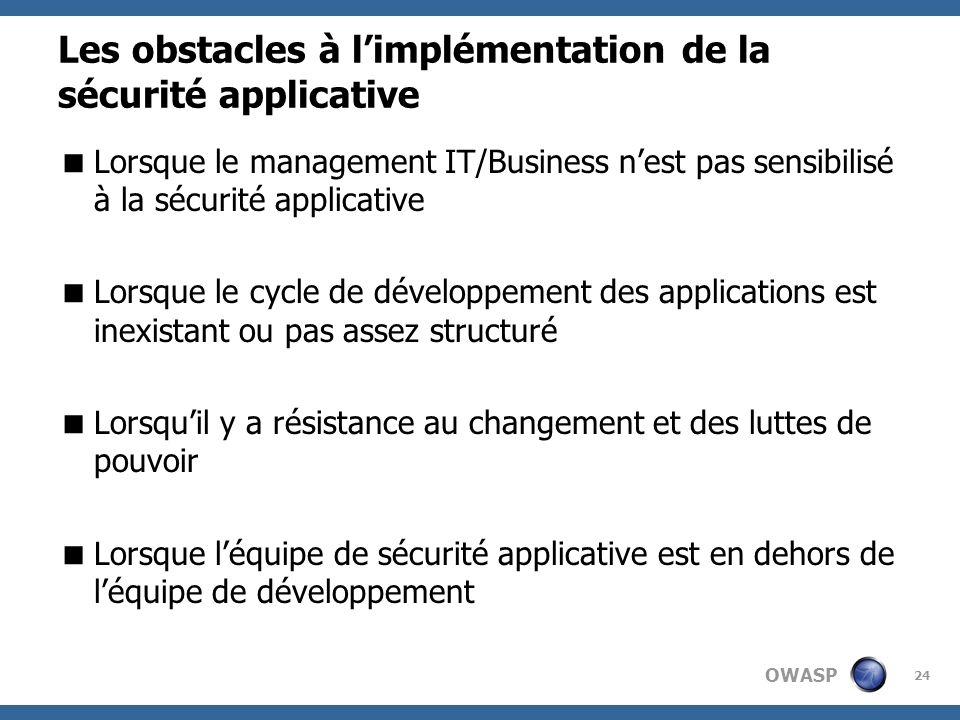 Les obstacles à l'implémentation de la sécurité applicative