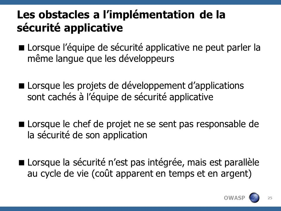 Les obstacles a l'implémentation de la sécurité applicative
