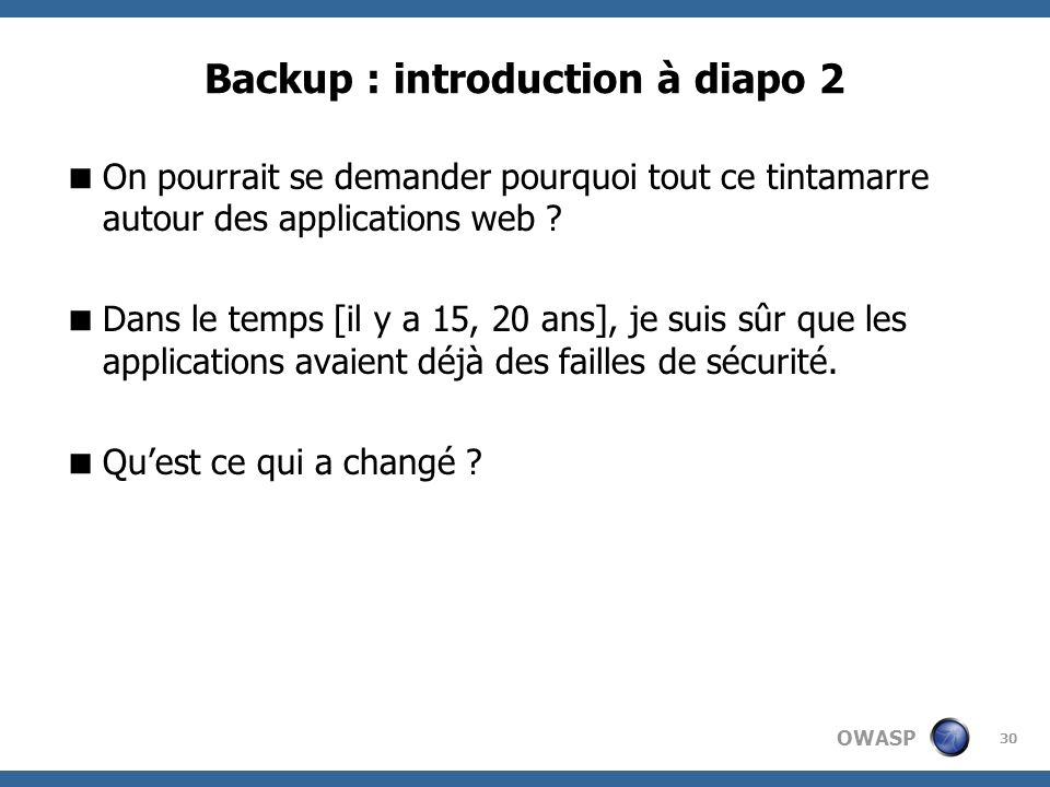 Backup : introduction à diapo 2