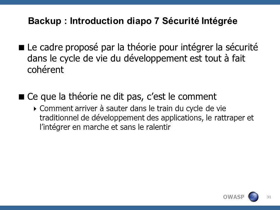 Backup : Introduction diapo 7 Sécurité Intégrée
