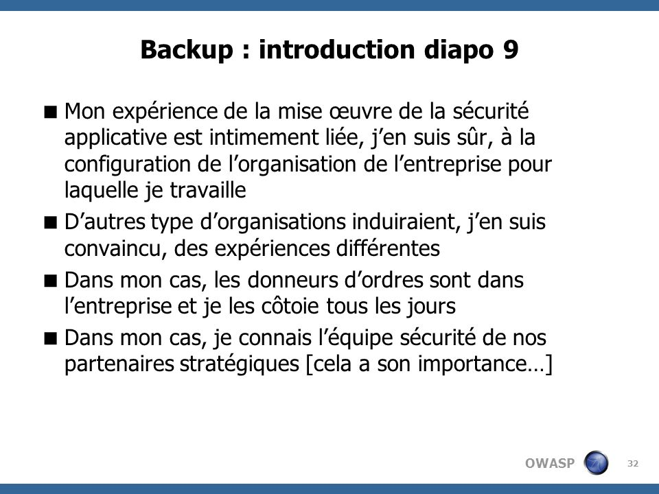 Backup : introduction diapo 9
