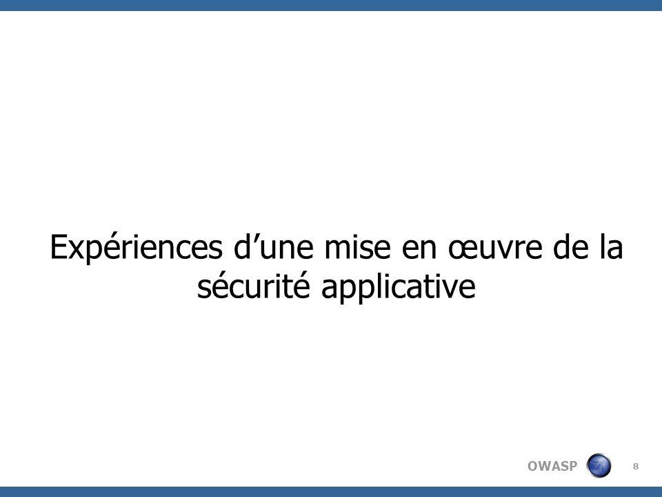 Expériences d'une mise en œuvre de la sécurité applicative