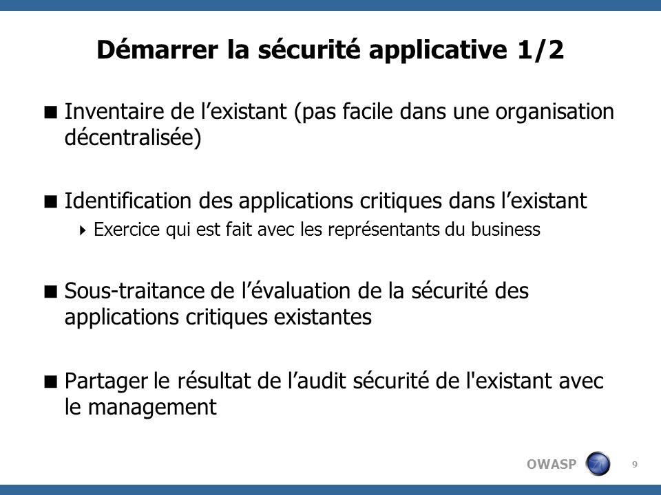 Démarrer la sécurité applicative 1/2