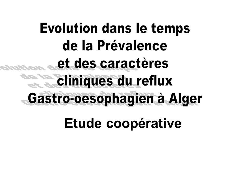 Etude coopérative Evolution dans le temps de la Prévalence
