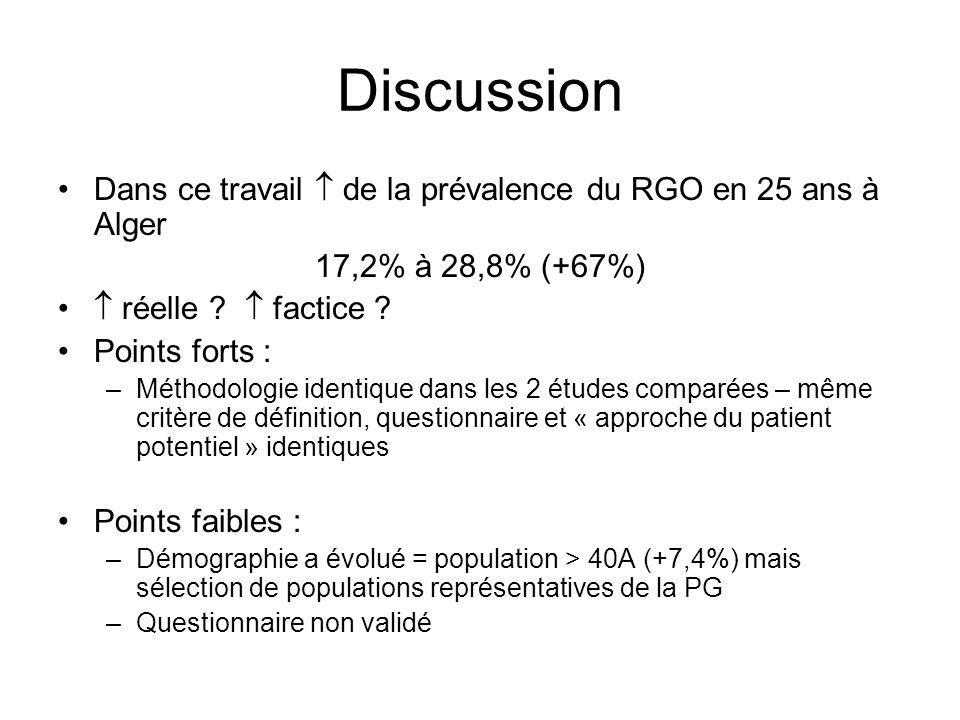 Discussion Dans ce travail  de la prévalence du RGO en 25 ans à Alger