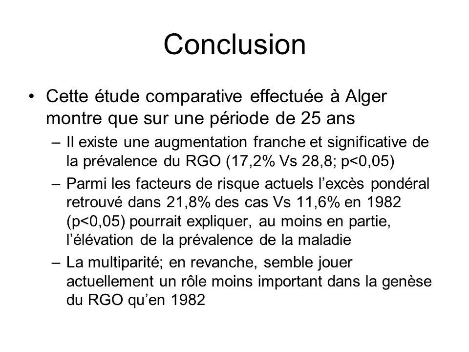 Conclusion Cette étude comparative effectuée à Alger montre que sur une période de 25 ans.