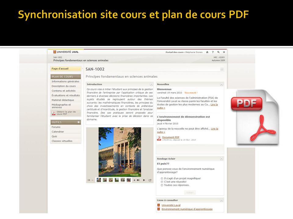 Synchronisation site cours et plan de cours PDF