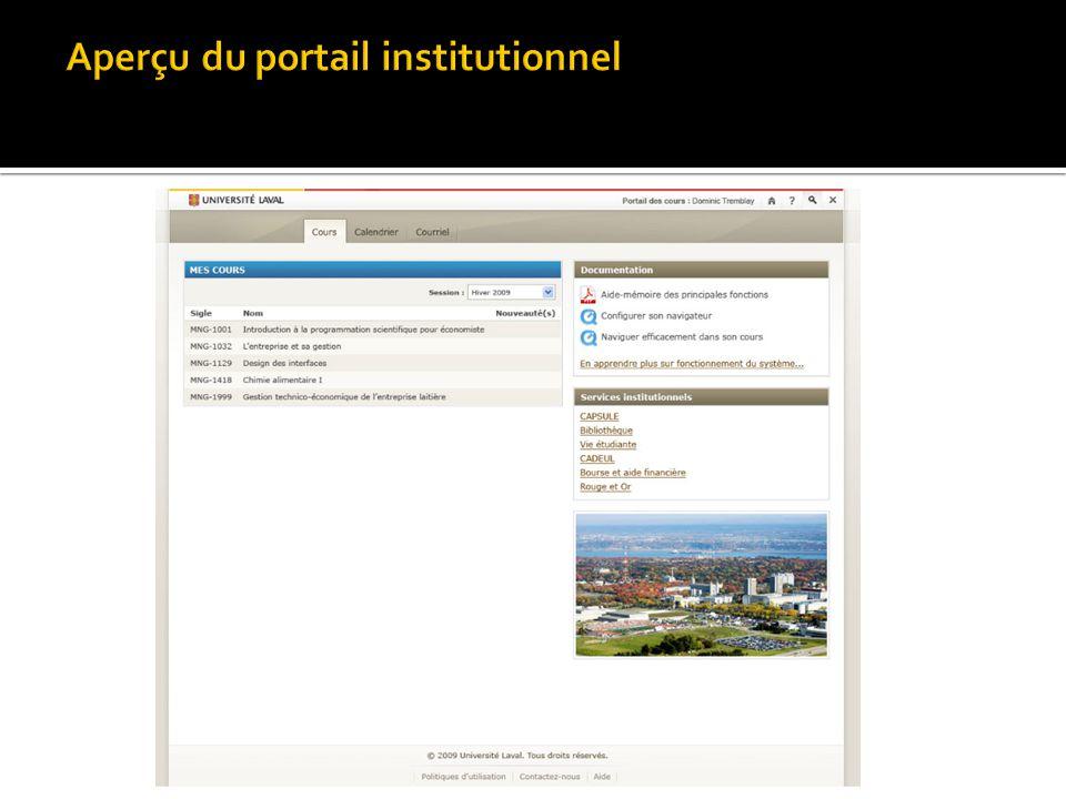 Aperçu du portail institutionnel