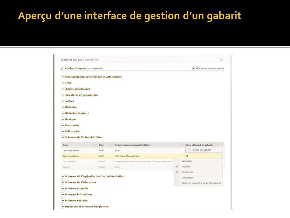 Aperçu d'une interface de gestion d'un gabarit