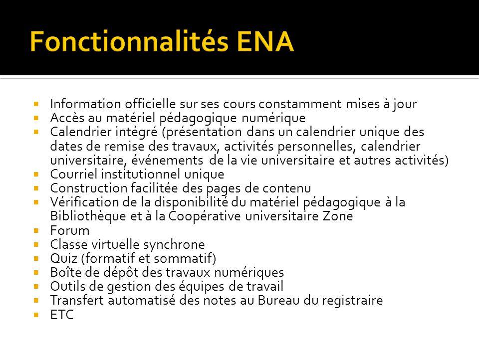 Fonctionnalités ENA Information officielle sur ses cours constamment mises à jour. Accès au matériel pédagogique numérique.
