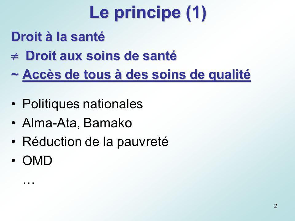 Le principe (1) Droit à la santé  Droit aux soins de santé
