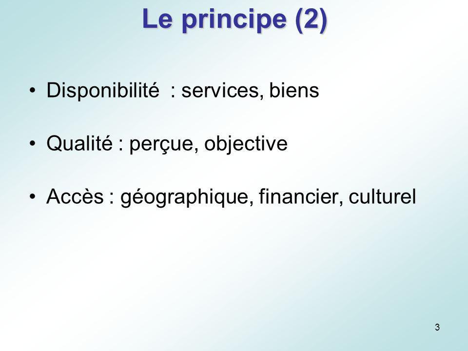 Le principe (2) Disponibilité : services, biens