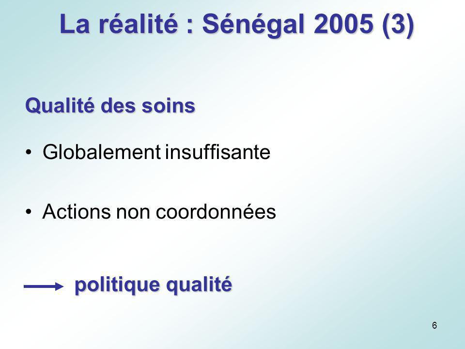 La réalité : Sénégal 2005 (3) Qualité des soins