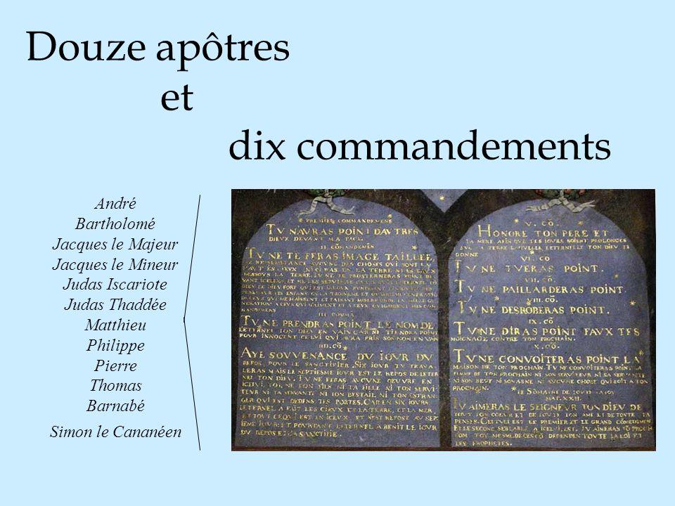 Douze apôtres et dix commandements