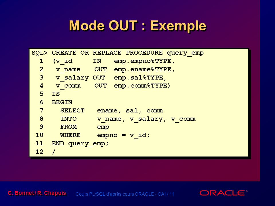 Mode OUT : Exemple SQL> CREATE OR REPLACE PROCEDURE query_emp