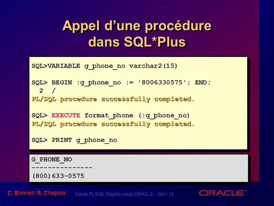 Appel d'une procédure dans SQL*Plus