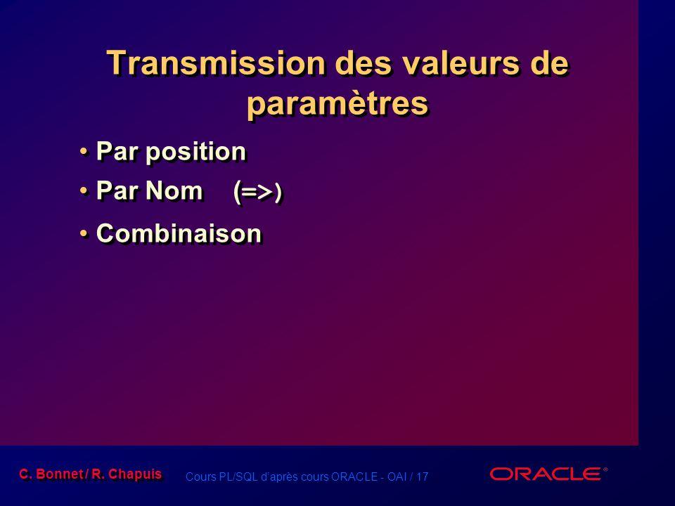 Transmission des valeurs de paramètres