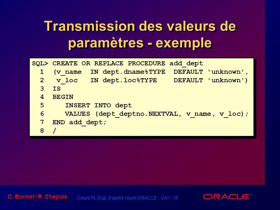 Transmission des valeurs de paramètres - exemple