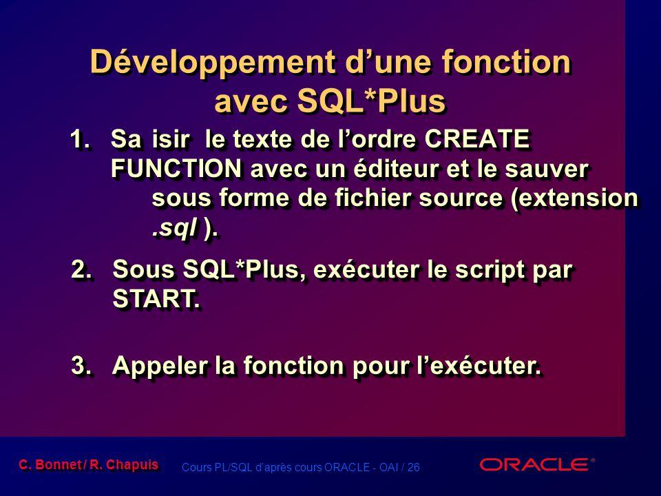 Développement d'une fonction avec SQL*Plus