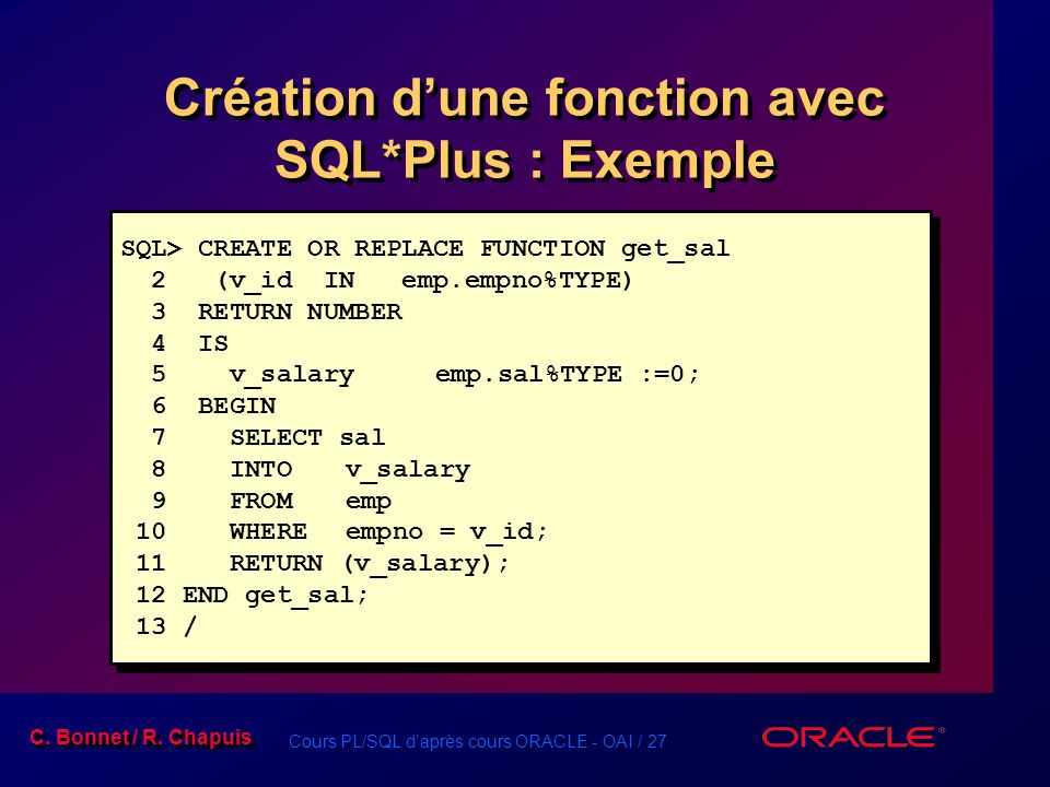 Création d'une fonction avec SQL*Plus : Exemple