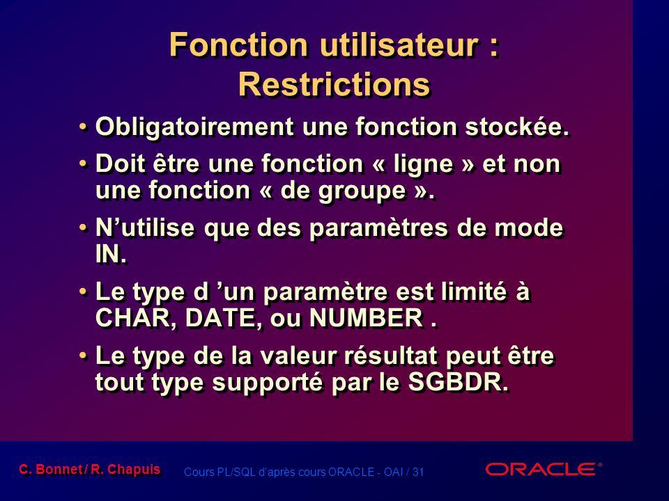 Fonction utilisateur : Restrictions