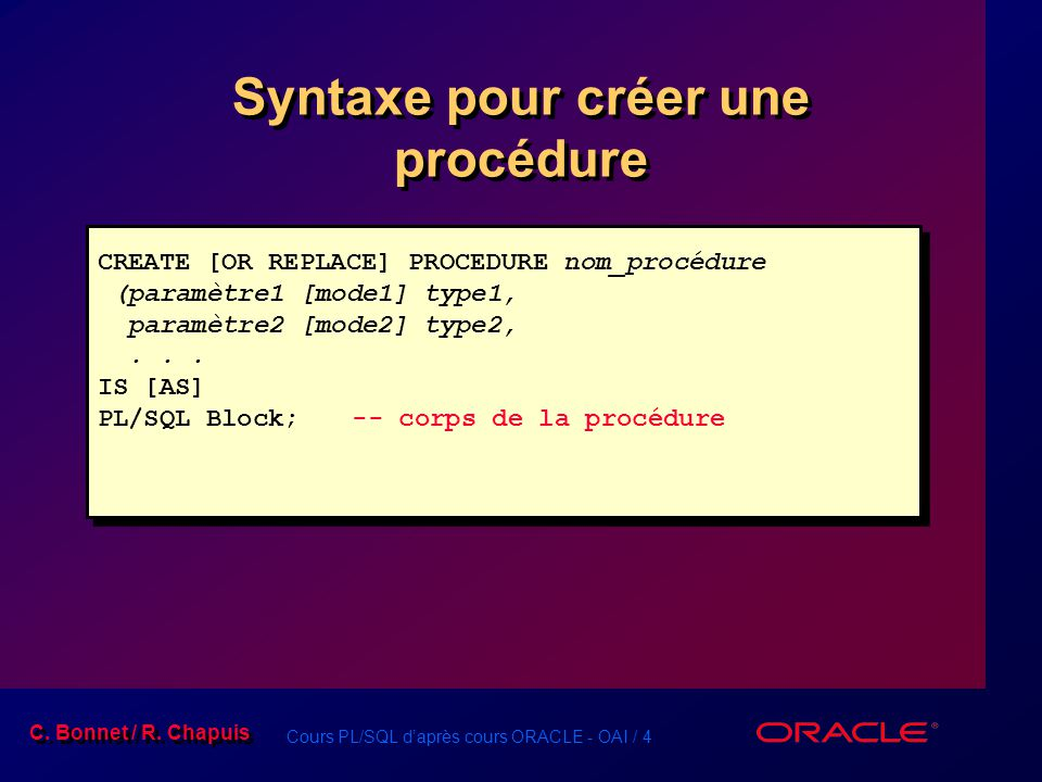 Syntaxe pour créer une procédure