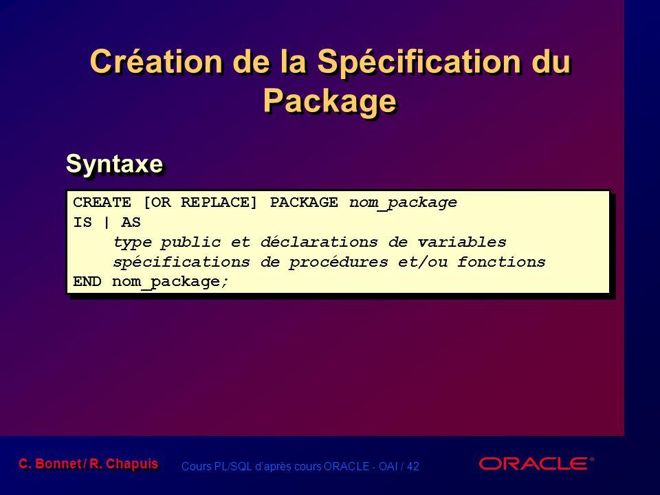 Création de la Spécification du Package