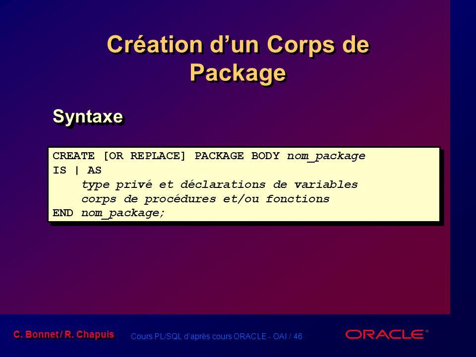 Création d'un Corps de Package