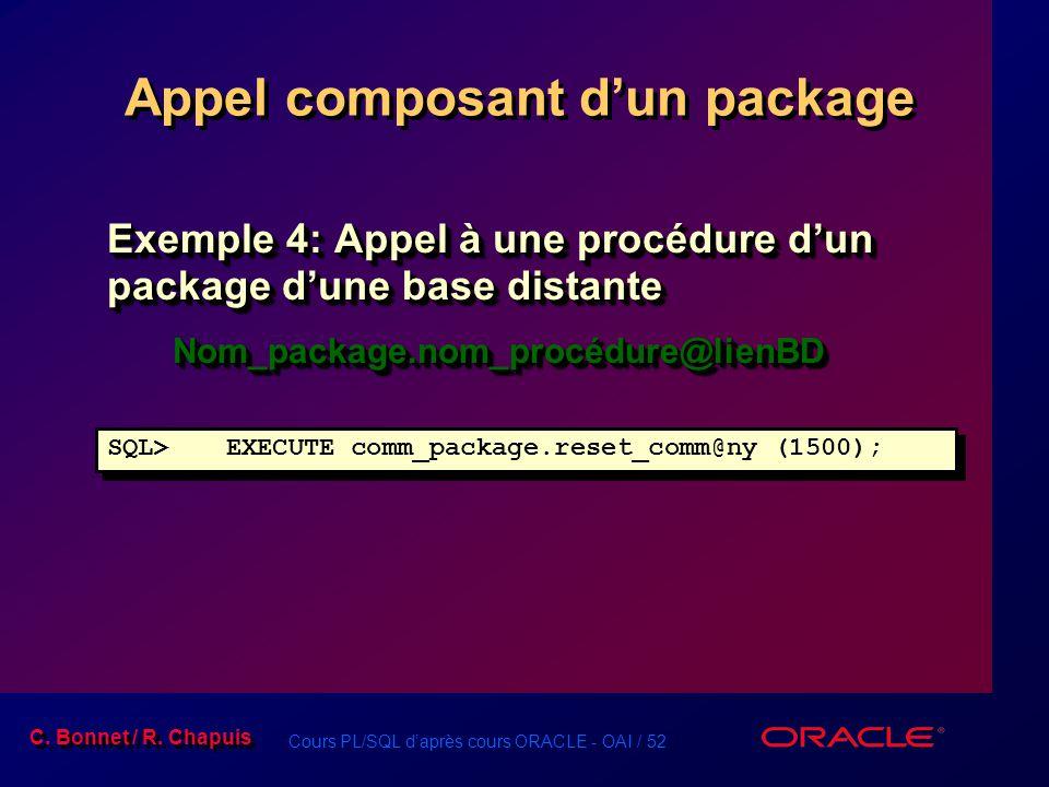 Appel composant d'un package