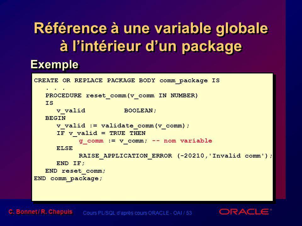 Référence à une variable globale à l'intérieur d'un package