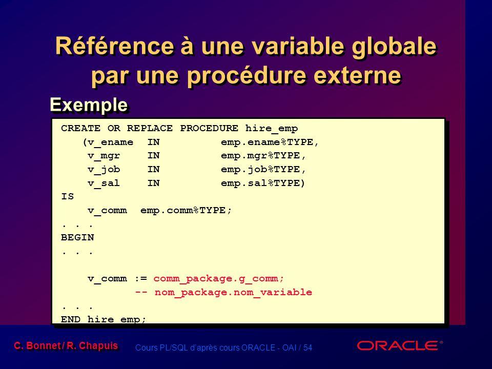 Référence à une variable globale par une procédure externe
